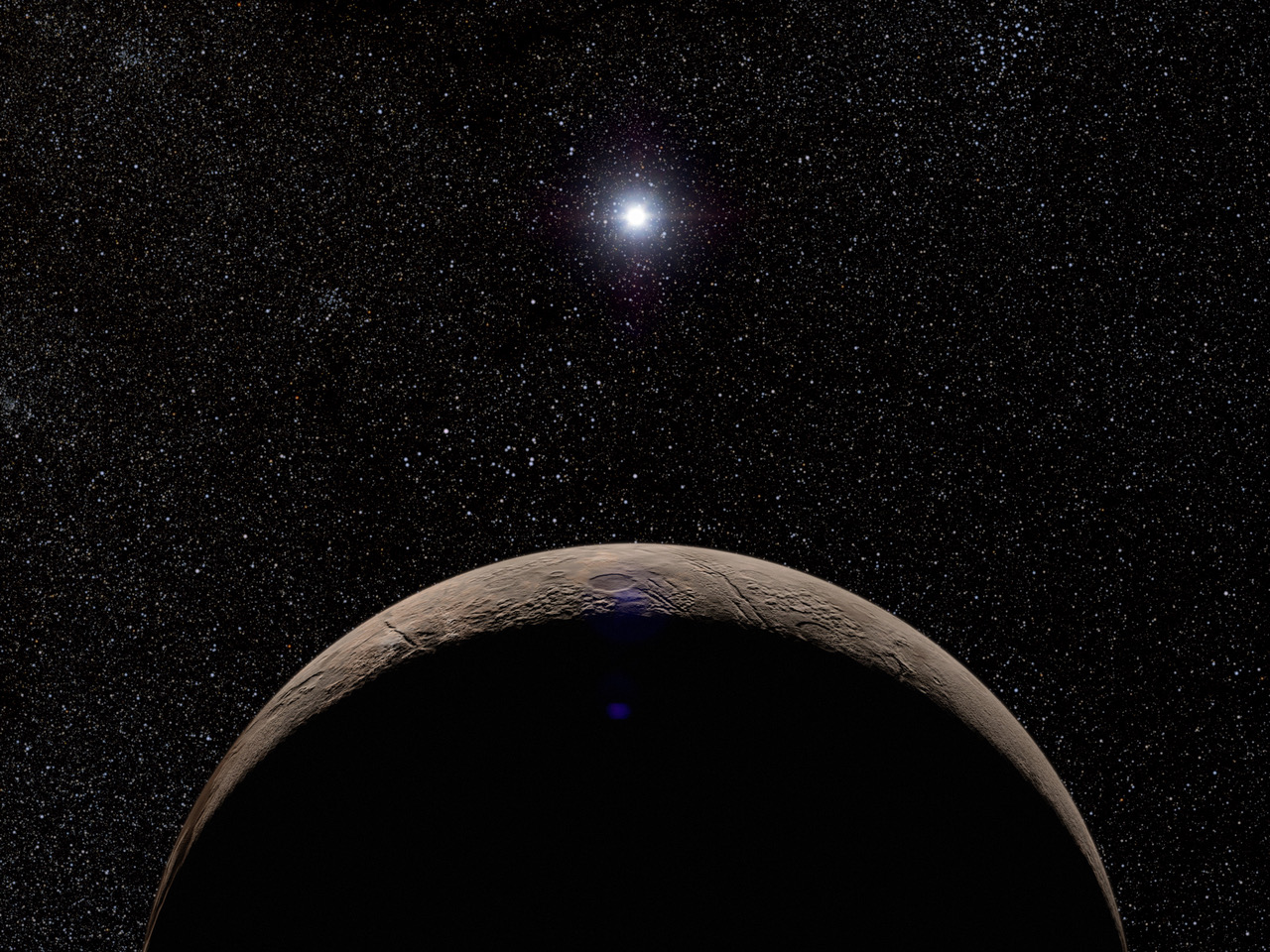 木曽トモエゴゼンによる恒星掩蔽観測に成功し、大気がほとんど存在しないことが判明した太陽系外縁天体クワオアー(Quaoar)の想像図。© 有松亘/AONEKOYA (2019.11.27)